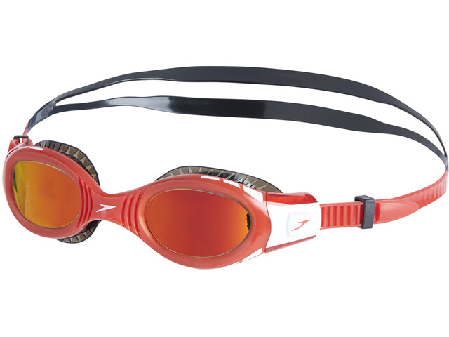 speedo Futura Biofuse Flexiseal Mirror Gogle Dzieci, black/lava red/orange gold